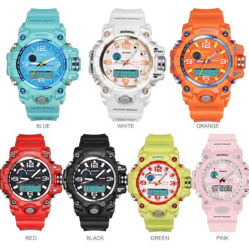 BOAMIGO бренд женщин спортивные часы многофункциональные двойные дисплейные часы моды цифровые наручные часы водонепроницаемый Relogio Feminino 201116