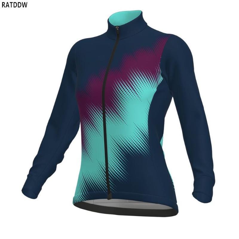 Mujeres camiseta de la cremallera completa un ciclo Jersey de la bici de la bicicleta de invierno de manga larga de MTB Mountain Bike jerseys de ropa del desgaste