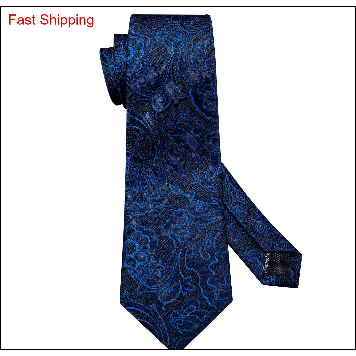 Envío rápido Mens Corbatas 100% Sileda Diseñadores de seda Moda azul marino Azul Floral Tie Hanky Gemelos Conjuntos para hombres Formal W Qyldtz Beauty888