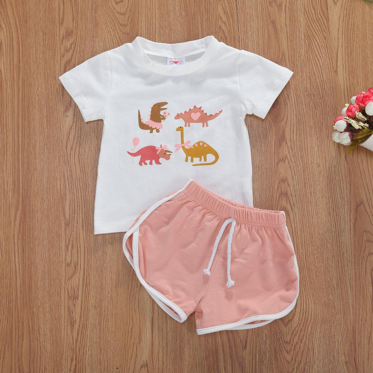 0-4Y Summer Kids Baby Girls Lovely Clothes Sets Animal Print Short Sleeve T Shirts Solid Shorts 2pcs