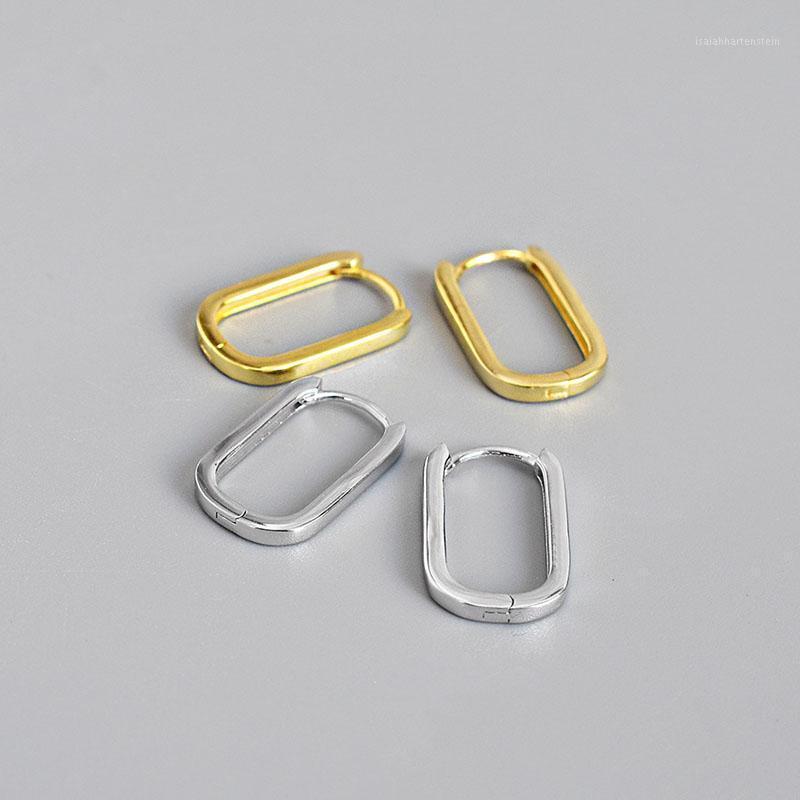 Boucles d'oreilles en argent sterling Hong Huggie 925 pour femmes Boucles d'oreilles ovales minimalisme or bijoux fins hypoallergénique1
