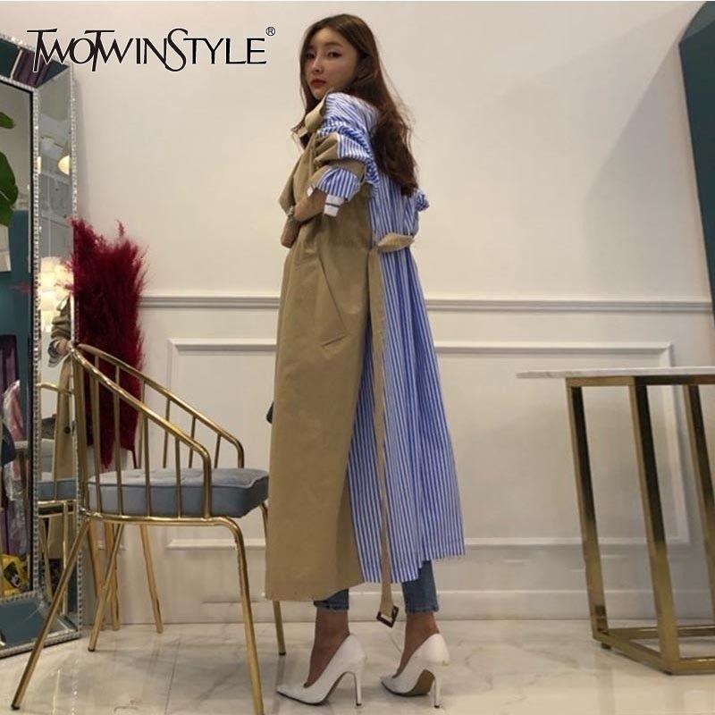 GALCAUR righe patchwork Windbreaker per le donne a maniche lunghe Lace Up Trench moda femminile coreano autunno oversize 201015