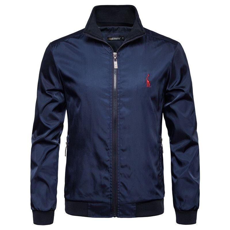 Yeni Sonbahar Kış Standı Colar Fermuar Ceket Erkekler Streetwear Bombacı Ceket WINDBREAKER Mens Temel ceketler ABD Boyut S-XXL 201014