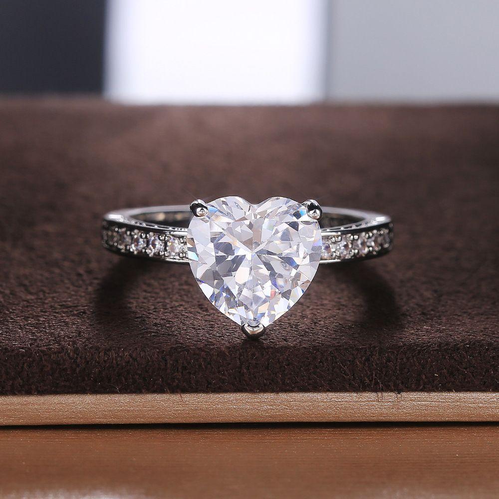 2020 Liebe Dame Ringpfirsichherz Zirkonium Silber Modeschmuck