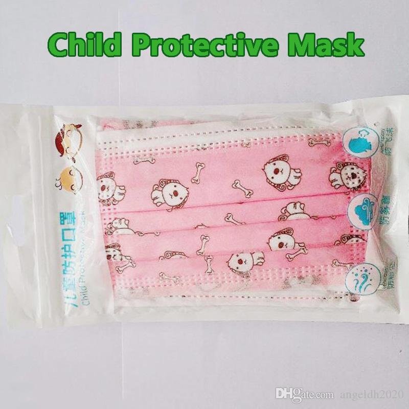 DHL Free Bambino Moda Studente Studente Bambini Maschera per il viso monouso con anello per orecchie elastici 3 Plye traspirante per bloccare le maschere anti-inquinamento dell'aria polvere