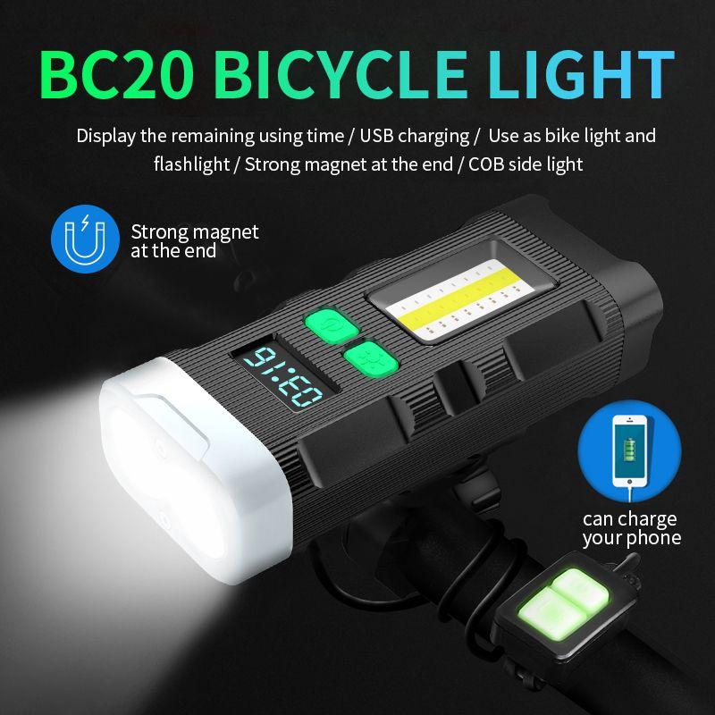 5200 mAh Bisiklet Işık 2 X L2 COB Fener Bisiklet Işık için USB Şarj Edilebilir Pil Bisiklet Işığı Ile Güçlü Magnet LCD Ekran 201028