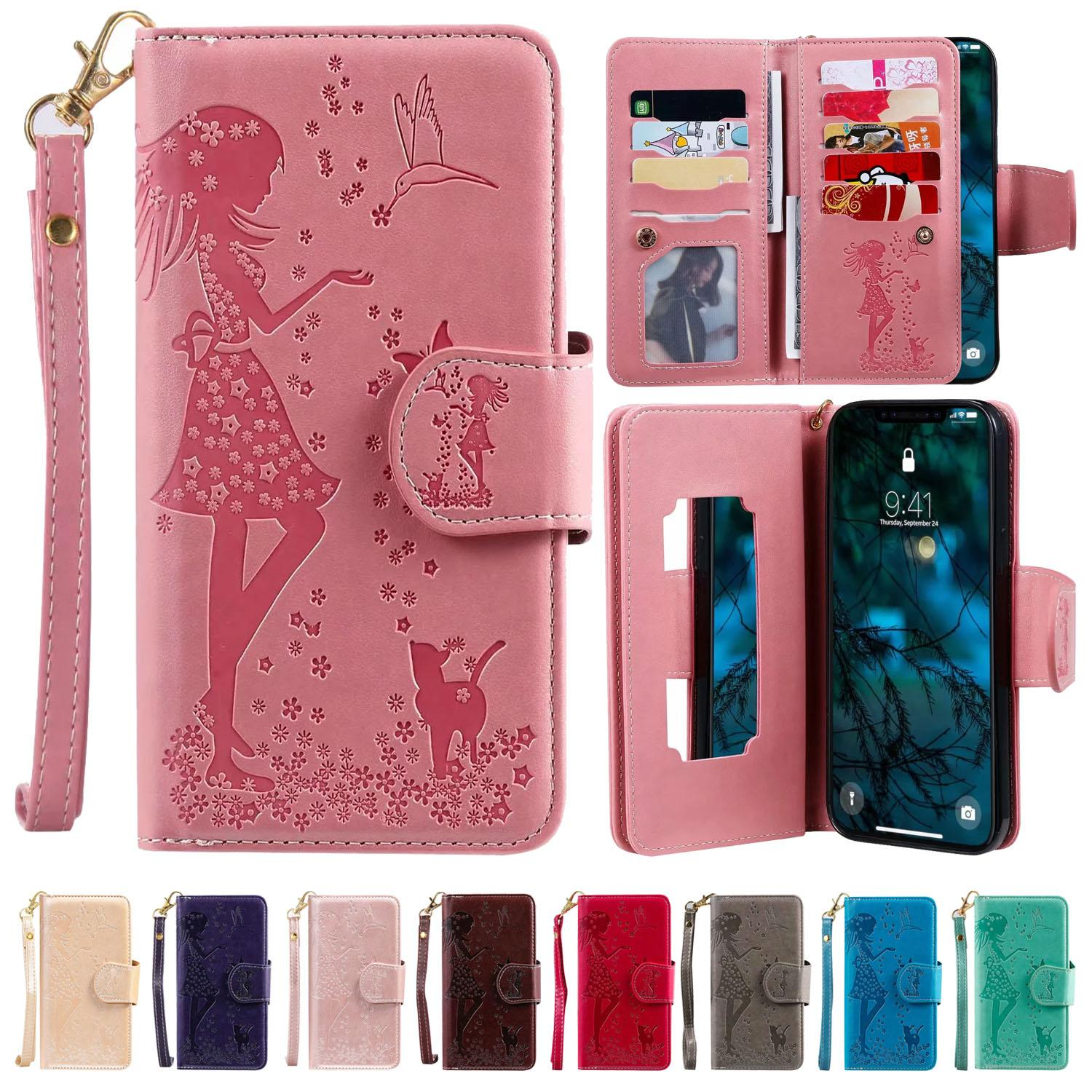 Wallet Phone Case for iPhone 12 Mini 11 Pro X XR XS Max 7 8 Plus Samsung S20 Ultra Pretty Girl Embossing 9 Card Slots Flip Stand Cover Case