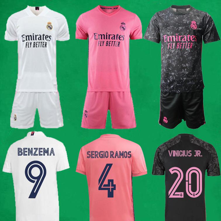 20 21 Echte Madrid Soccer Jerseys Kurzes Zuhause Dritter Fußball Kits Gefährdung Zidane Benzema Fußball Hemd Camiseta de Futbol Männer Kinder Sets