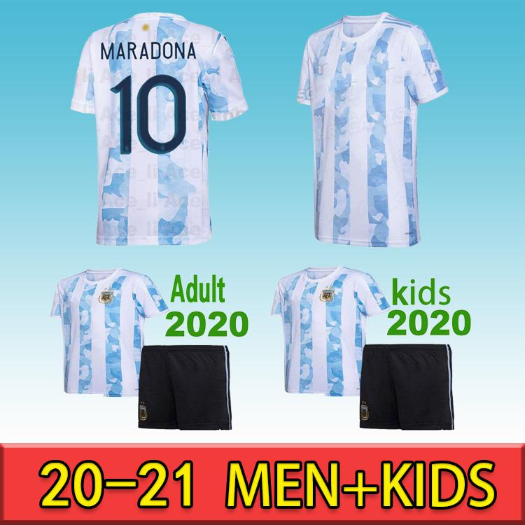 الأرجنتين مشجعي مشجعي مايوه دي القدم مارادونا 2020 2021 camisetas بولو ميسي dybala dimaria aguera lautaro الرجال أطقم أطفال كرة القدم قميص عموم