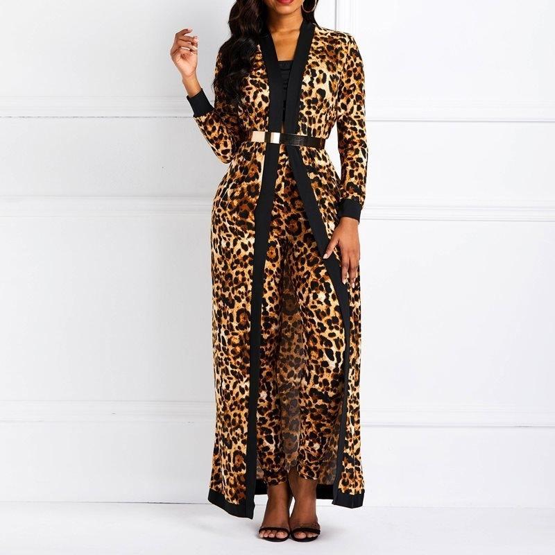 CLOCOLOR MUJERES SETS SET SEXY Leopard Print Ladies Spring Otoño Manga Larga Abrigo Pantalones Superiores Pantalón de Moda Casual Trajes Y200110