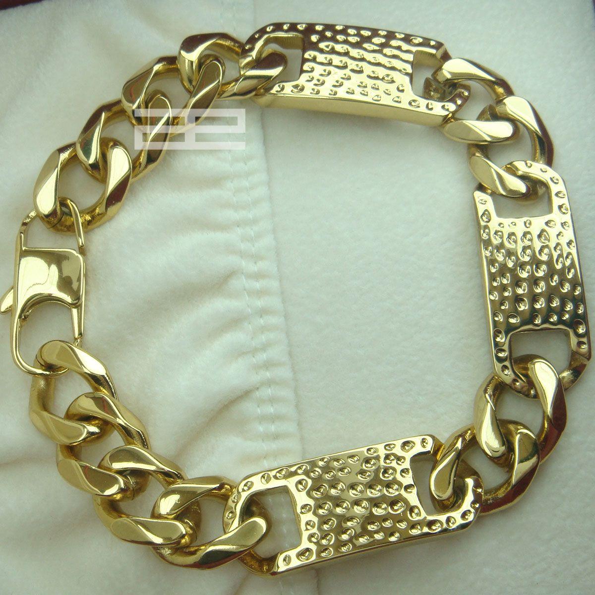 Männer kühlen 14K 14CT Gold füllte GF 14mm Breite 23cm Länge Kühle Braclet B140
