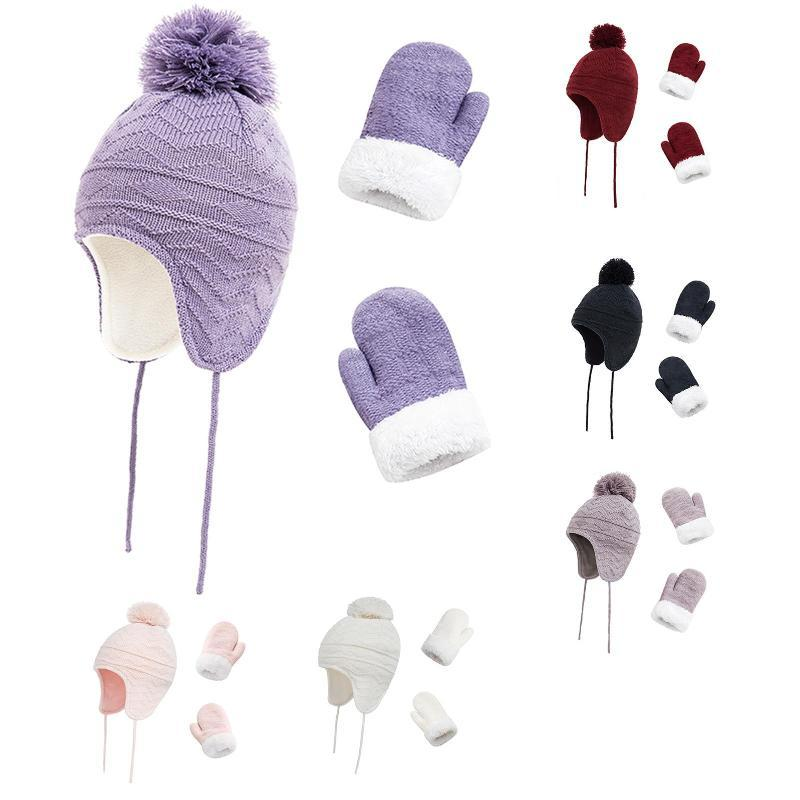 Hats, Scarves & Gloves Sets Fashion Winter Kids Baby Beanie With Mittens Set Boys Girls Warm Hat And Glove Two-piece Sweet Lovely, Comfortab