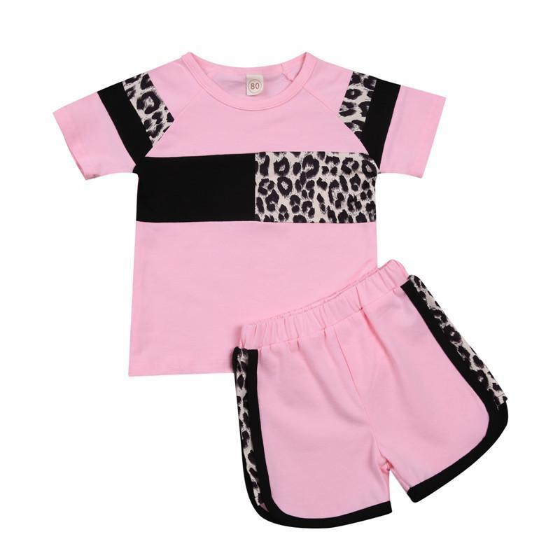 2021 Baby Girls Outfits Мягкий Короткий Рукав Леопардовый Печать Лоскутные Топы Шорты 2 Шт. Летняя малыша девушка одежда новорожденного