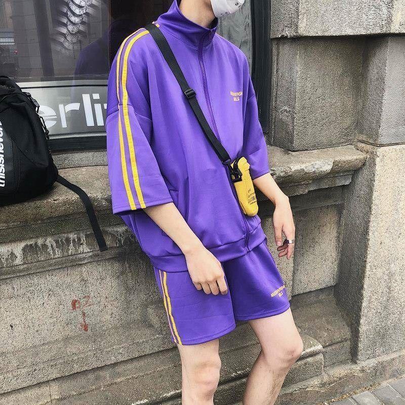 Yaz Casual Suit Erkek Gevşek Yedi Noktalı Kollu Şort Takım Elbise Öğrenci Kore Eğlence Spor Çift Iki Parçalı Takım 201109