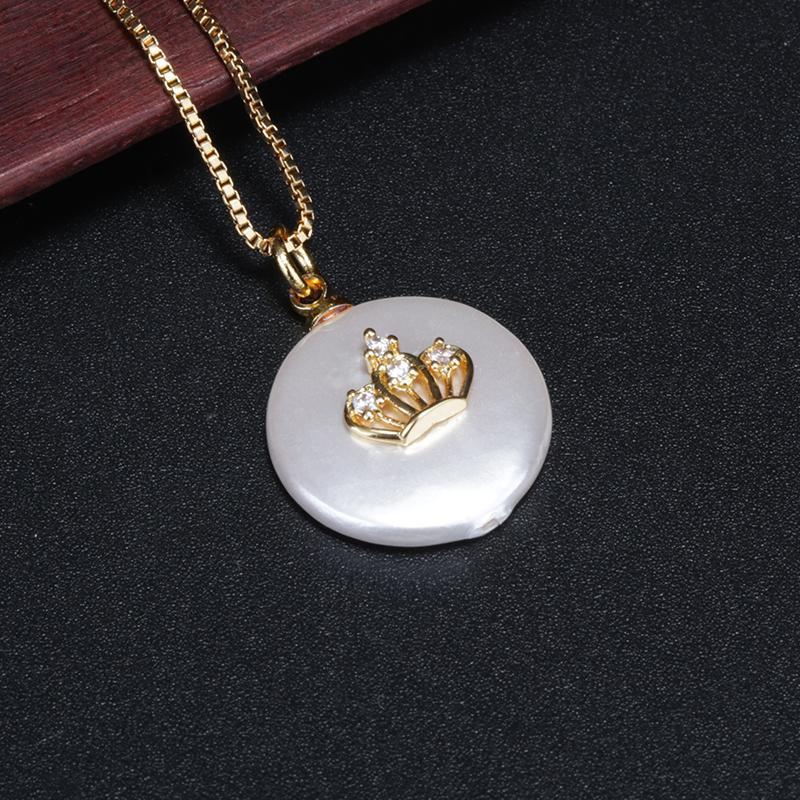 cz bleu blanc pave collier tour de cou pendentif chaîne à maillons en or perle perle chic et délicat charme de la couronne pour les femmes de bijoux par jour