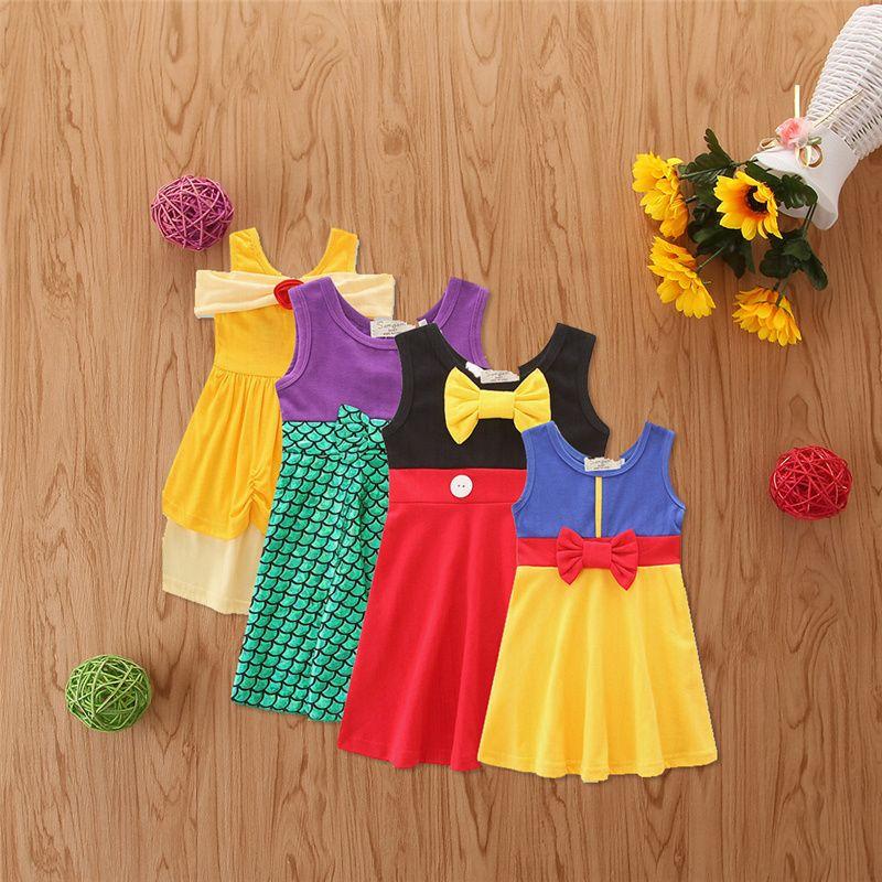 Petites filles Princesse Robes Filles Sirène Bows Robe Patchwork Couleur Summer Jupes One Piece pour enfants Fête Costume Vêtements GG12603