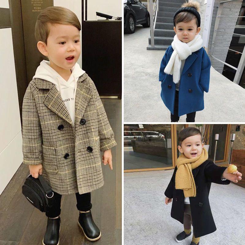 Baby Boy Girls Chaqueta de lana Larga Doble Breasted Cálido Zapato Toaddle Lapel Tweed Coat Spring Otoño Invierno Bebé Outwear Ropa 201023