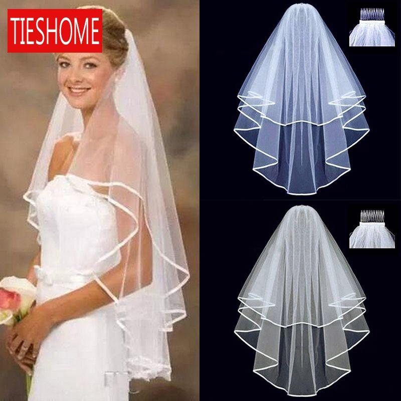 Простые короткие тюль свадебные вуали 2020 новый два слоя с белой слоновой кости Bridal вуаль невеста брак свадебные аксессуары