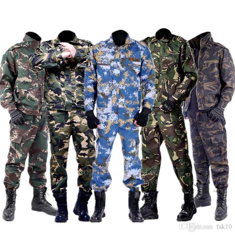 Trainning de camuflaje ropa de ejercicio de la chaqueta de las bragas de los hombres Conjuntos de ropa táctico Ejército Fuerzas uniformes soldado de combate Set