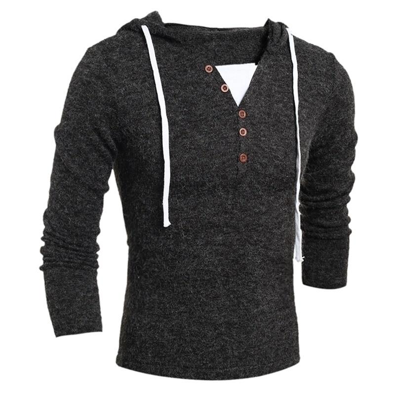 Zogaa Brand New Hommes Pulls à manches longues Mode Casual Slim Design Solide Capuchon à capuche Solide Homme Pull Vêtements Pullovers 201117