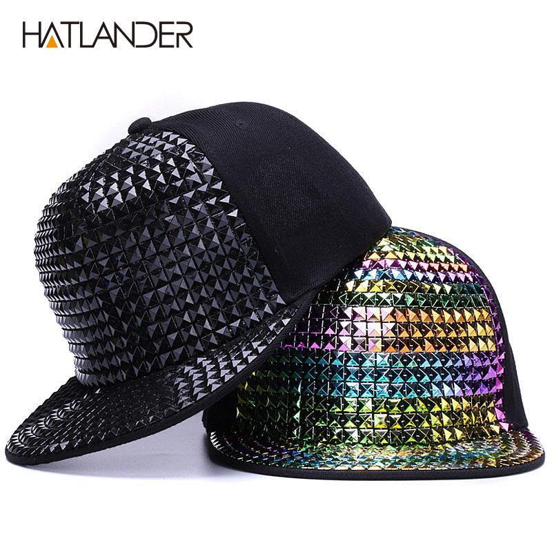[Hatlander] Persönlichkeit Pailletten Baseballkappen Flache Rand im Freien Hüte Mädchen Junge Bling Punk Snapback Cap Jazz Rock Coole Hip Hop Cap T200409