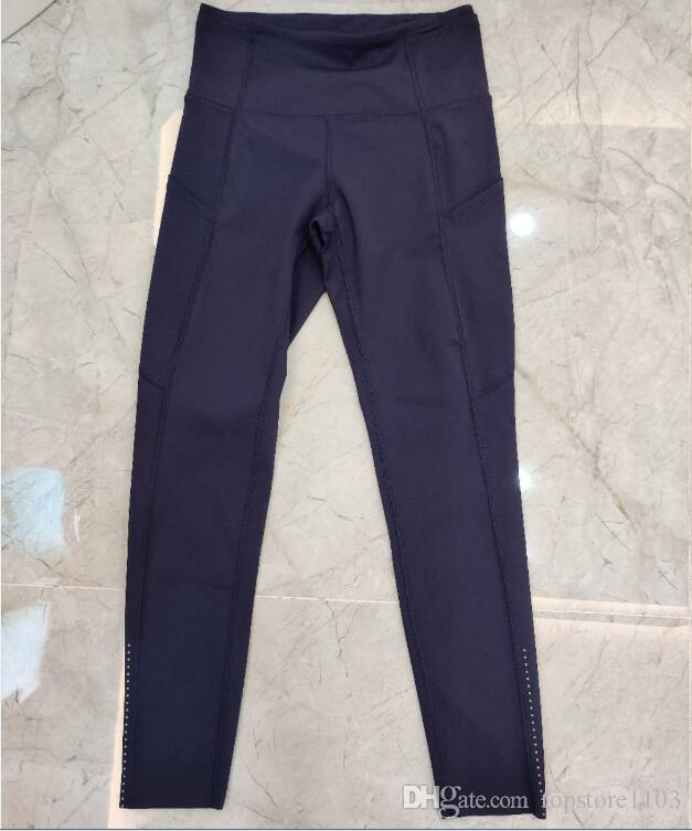new Pocket, High Waist Yoga Pants Sexy Lady Raising Hips, Tight Running Fitness Double Side Brocade Pants High Elasticity