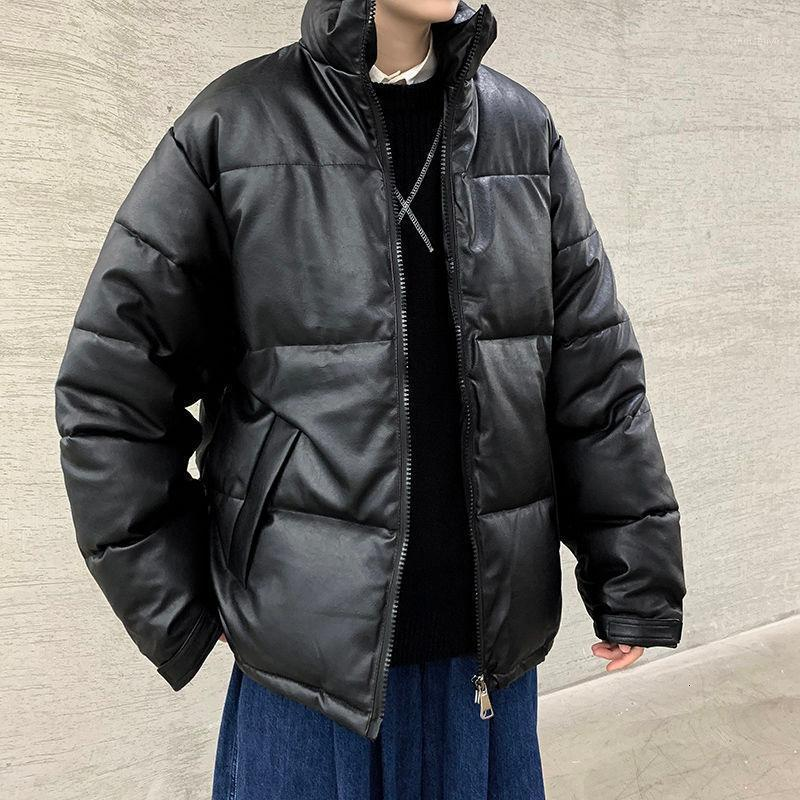 Uyuk inverno novo parka homens jaqueta pu tecla solta algodão acolchoado para roupa masculina casaco de couro falsa1