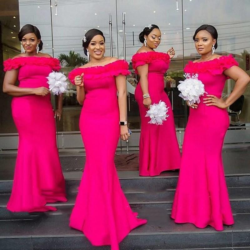 Off Shoulder Fuchsia Bridesmaid Dresses Plus Size Ruffle Mermaid Prom Evening Gowns 2020 Cheap Maid Of Honor Dress