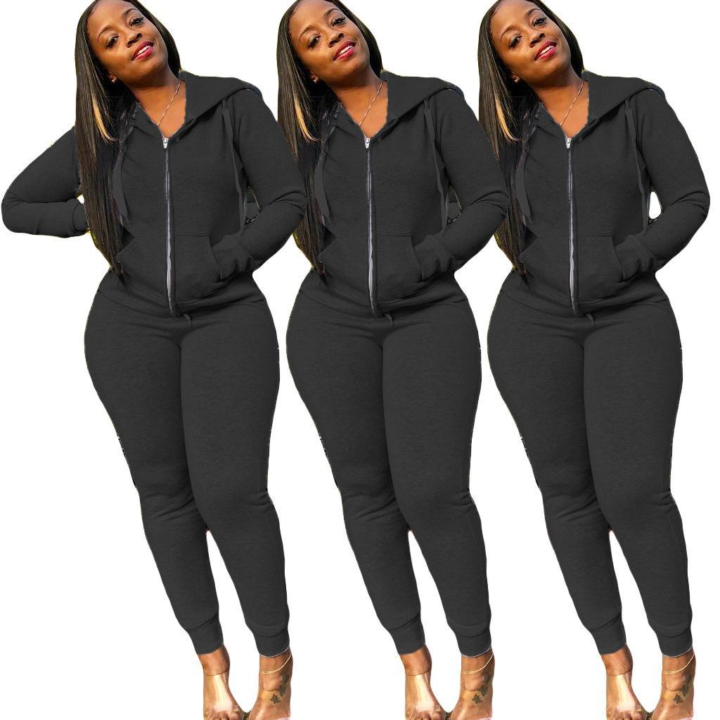 Fotos reais Mulheres Sportswear Treino Zipper Hoodies Top + Pants 2 Piece Mulher Set Outfit das senhoras das mulheres sweatsuits Fatos tamanho S-2XL