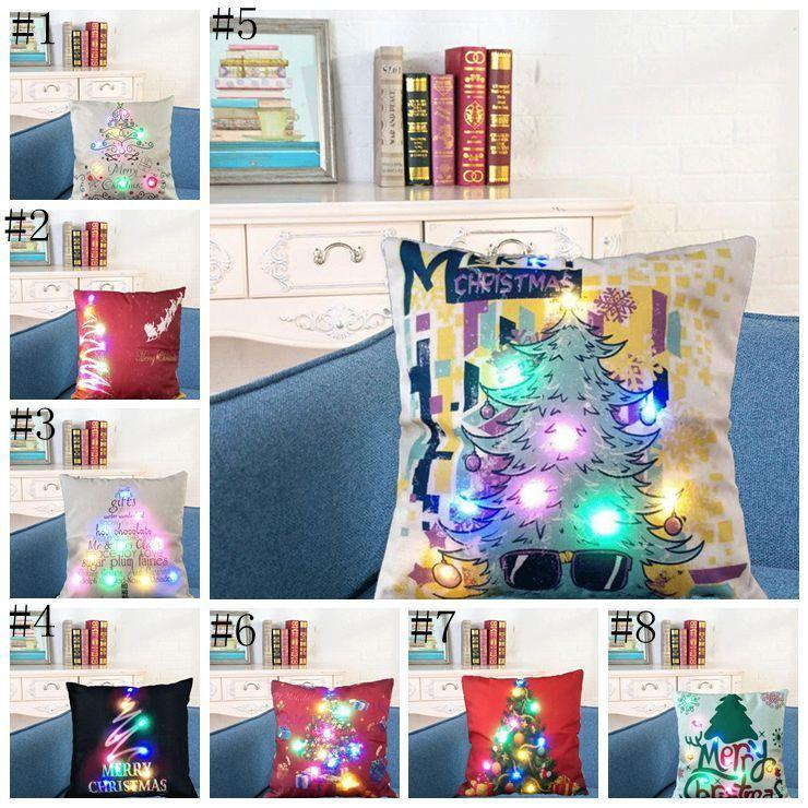 LED Luminous Linen Covers Light Cushion Office Nap Cover Christmas Home Sofa Car Decoration Pillow Case DHF1342