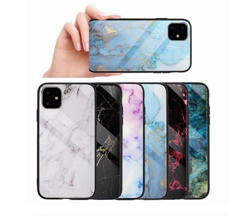 Gerçek Temperli Cam Hard Case iPhone 12 11 Pro XS MAX XR X 8 7 6 Artı Yumuşak TPU Mermer Taş Kaya Hibrid Telefon Kapak
