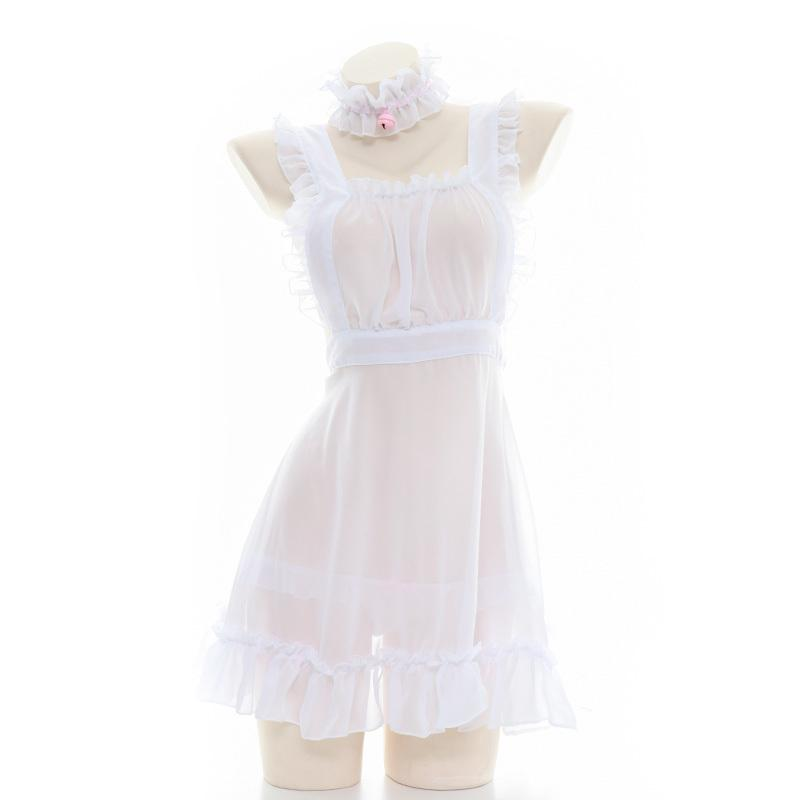 Sexy for Sex Clothes See Through Babydoll Lingerie Apron Maid Dress White Erotic Cow Cosplay Outfit Transparent Baby Doll