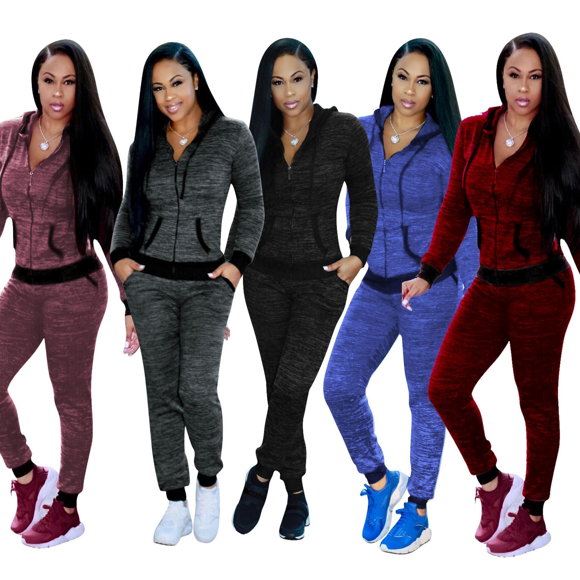 5 색 S-XXL 2 개 세트 여성용 캐쥬얼 후디 탑 스웨트 트랙 팬츠 슈트 운동복 56,493,719,363,668 땀