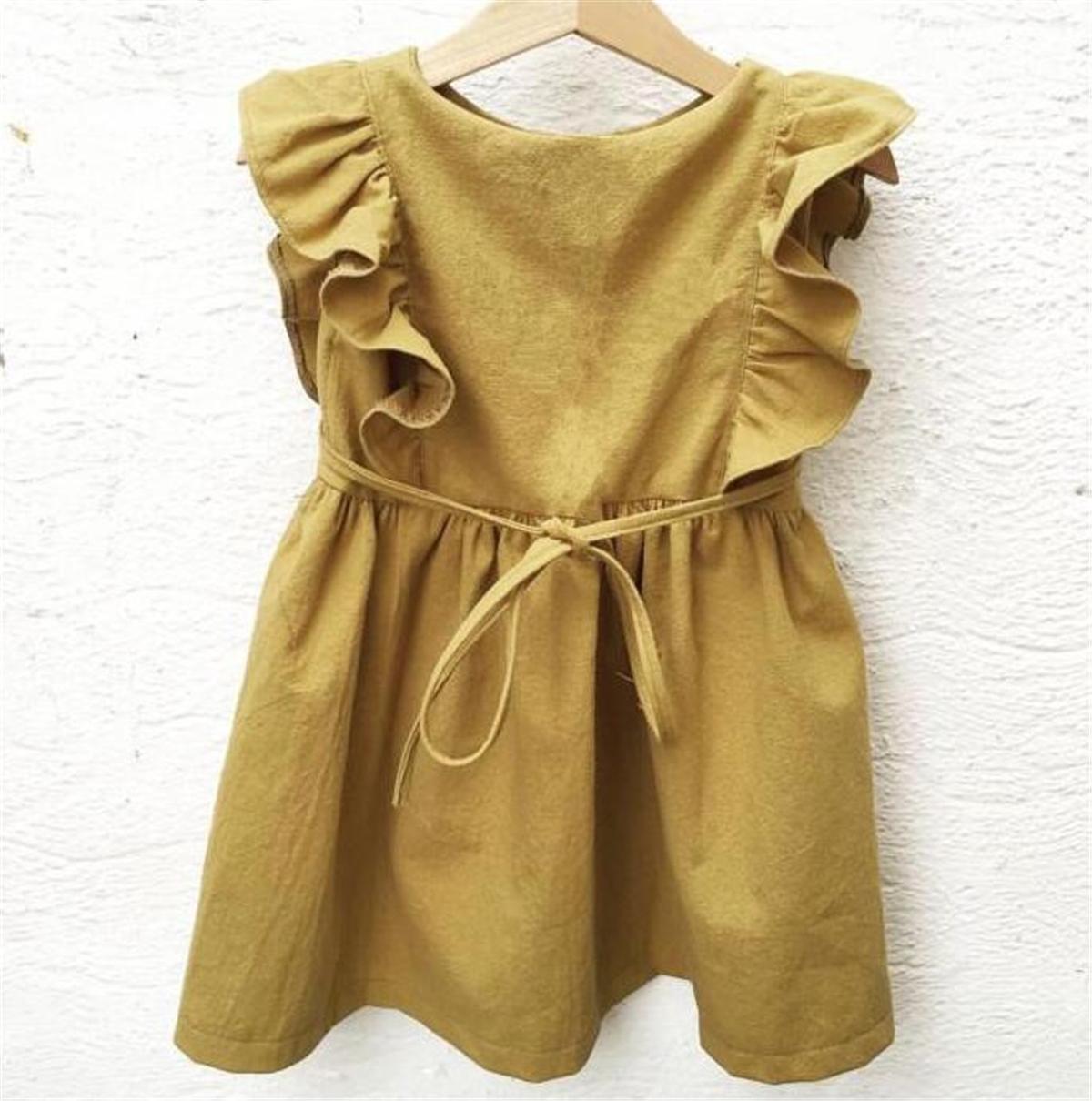 DB CALIDAD INS Little Girls Organic Ropa de Algodón Vestidos Ruffles Straps sin mangas Vestidos Niños Niñas Casual Princess Vestidos