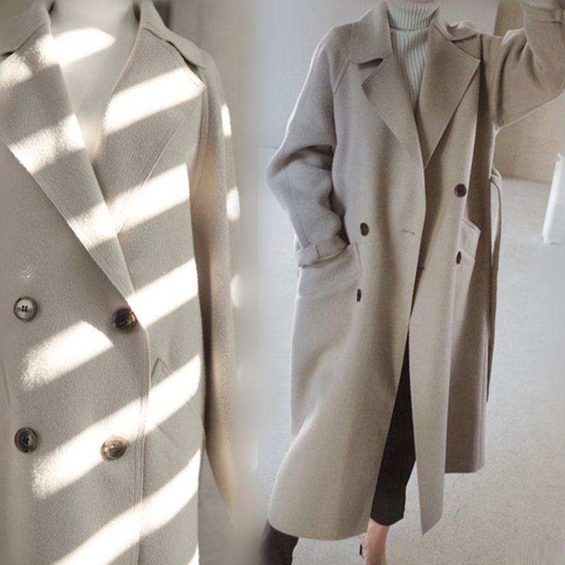 Wintermantel Frauen-breite Revers Gürteltasche Wollmischung Mantel Aufmaß langer Graben Outwear Wolle Frauen