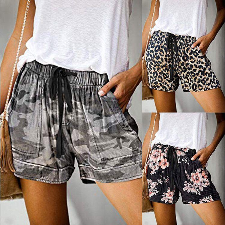 Shorts Casual perna larga solto Shorts 2020 Verão New europeus e americanos de cintura alta Elastic Lace-up