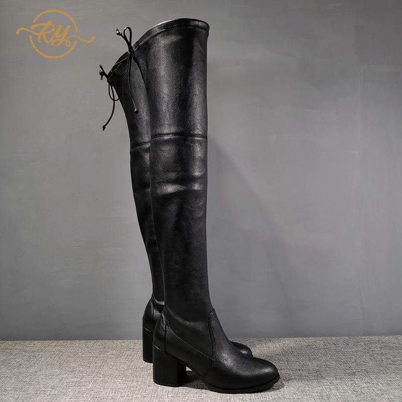 RY-RELAA Europa estación de zapatos de invierno las mujeres de 20 botas de moda para las mujeres de lujo bootsins plataforma rodilla altas botas para mujer de marea