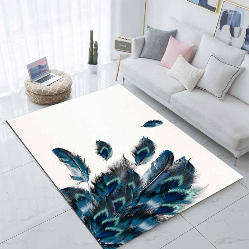 Else branco chão verde azul pavão penas 3d impressão não deslizamento microfiber sala de estar moderno tapete área lavável tapete mat1