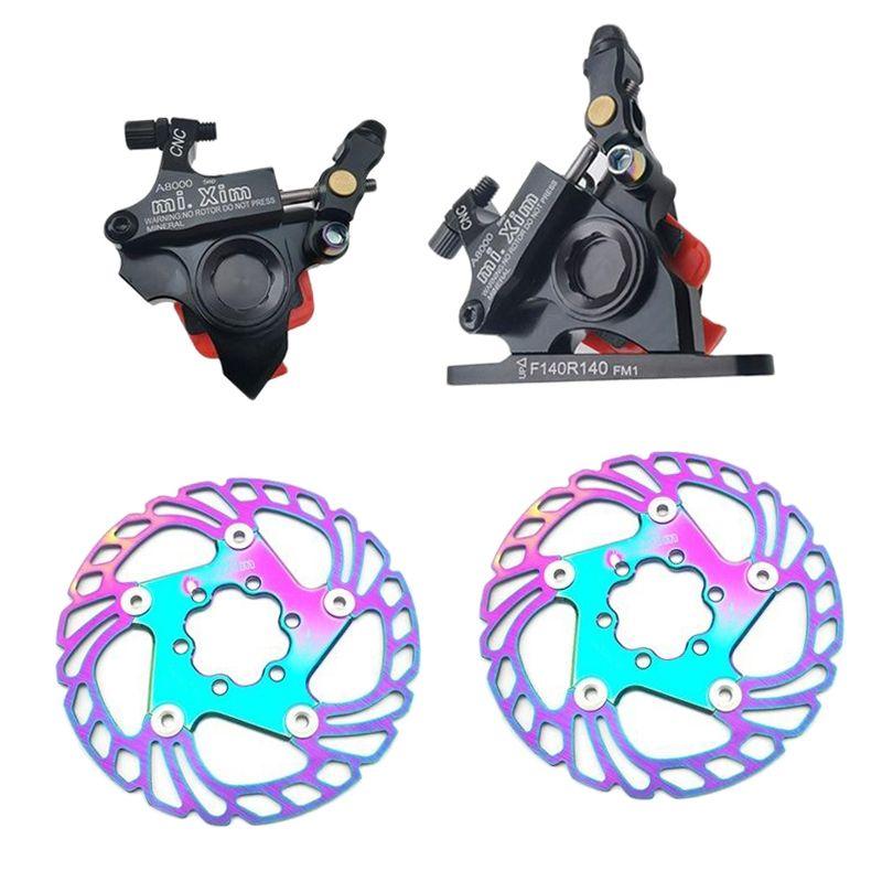 Alloy Bike Hydraulic Disc Brake Caliper Set Ultralight Bicycle Front Rear Line Pull Brake Calipers 140mm Floating Discs E-Bike Refit