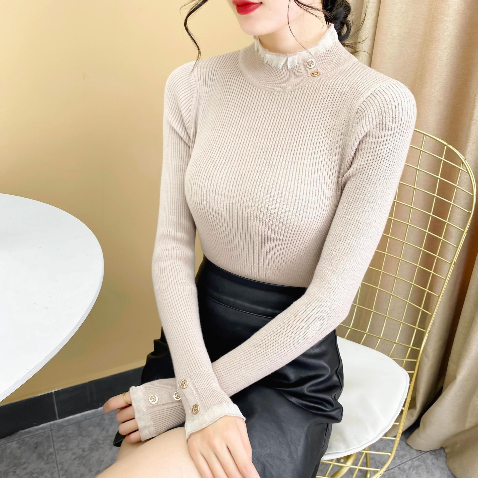Pull d'automne et d'hiver pour femmes Slim Fit Nouveau de style étranger Haut de la tricot