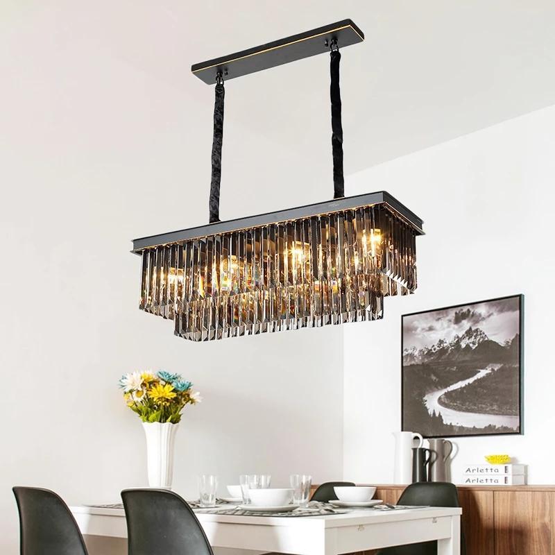Rectangular Chandelier Modern Restaurant Lights Crystal Chandelier Luxury Dining Room Lamp Bar Modern Chandelier Nordic Light