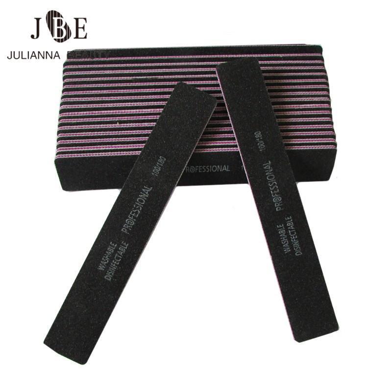 Nageldateien 50 teile / los dicke schwarz gerade breite doppelte doppelseite 100/180 schleif waschbare kunstpuffer maniküre pediküre tool