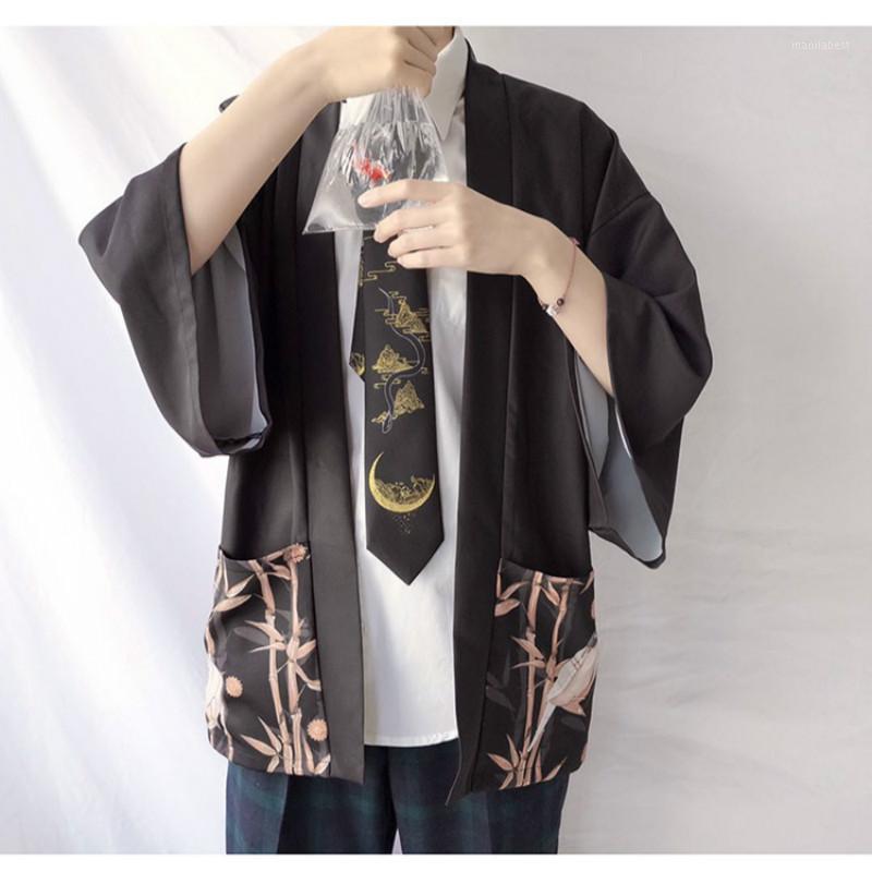 Этническая одежда Винтаж Кимонос Мужчины Женщины Японии традиционные Кимоно 2021 Кардиган Мужской Напечатанный Самурай Улица Sunscreen Blouses Yukata