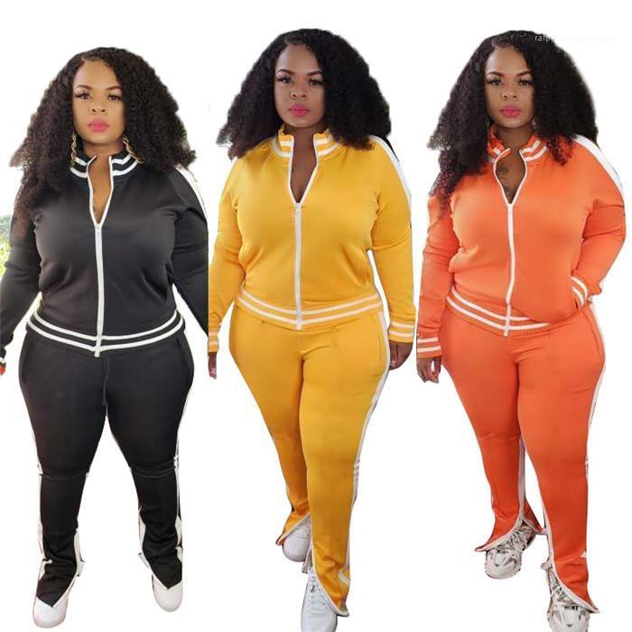 Рукав Стенд воротник пальто и повседневные брюки осень дышащий Женщины двухкусочный Outfit Одежда Плюс Размер Сплит костюмы женщин Long