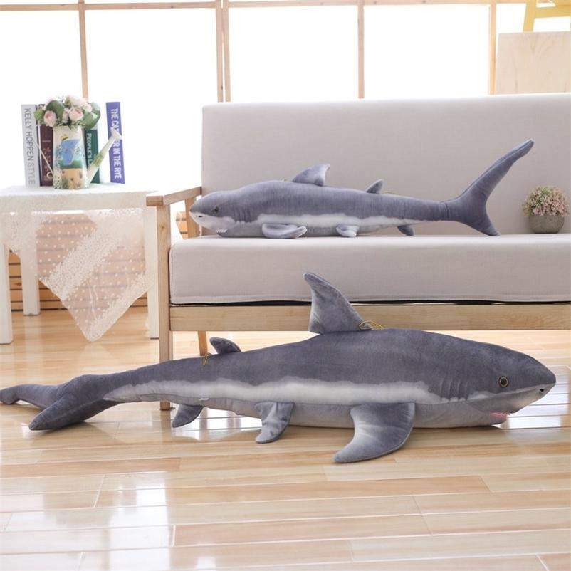 1.4m Simuleu Shark Suchido Sea Sea Peixe Brinquedos Para Loja De Marisco Mascote Pelúcia Boneca Macio Brinquedos Aniversário Tuna Dolls LifeLike 201222