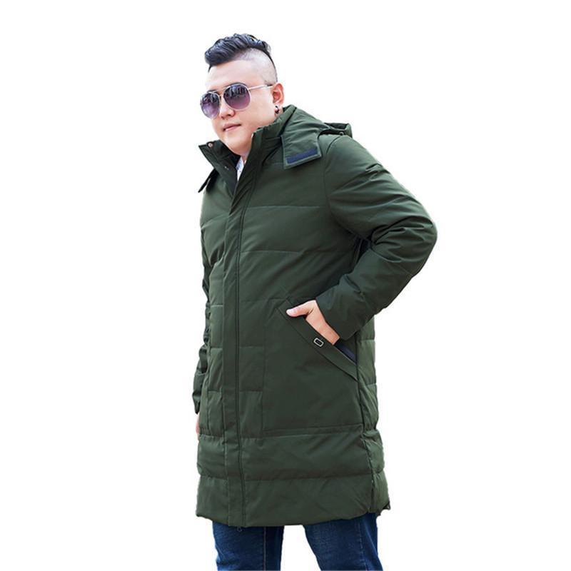 Manteau d'hiver pour les hommes de grande taille long manteau chaud de capuche longues Homme d'homme GENOUX surdimensionné XL-12XL 13XL Veste noire