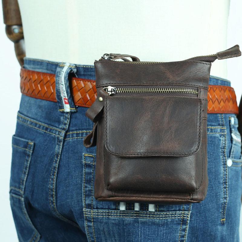 Hombres Cintura Fanny Bag Genuine Cowhide Cuche de cuero Cross Bum Bags Bags Mini Crossbody Bolsa de hombro Caja de la bolsa de la bolsa