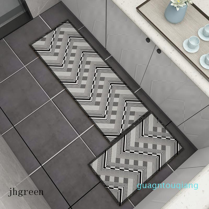 Geo Shapes Home Use Retro Kitchen Mat Retângulo 3D Imprimir Stripe Tapete antiderrapante Moda Estilo tapete antiderrapante Footcloth