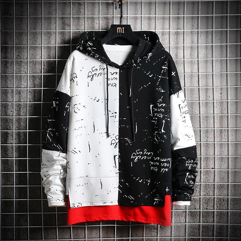 Felpa patchwork da uomo Felpa con cappuccio da uomo Male Harajuku Streetwear giapponese Hip Hop Oversized Black Purple Hoodie Felpa con cappuccio