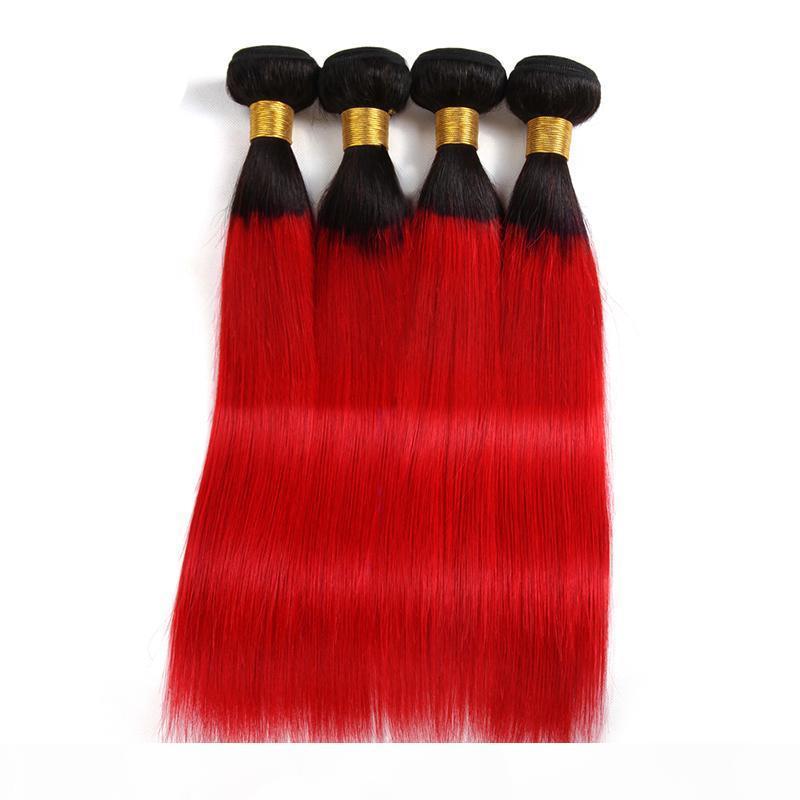 Extensiones de cabello virgen indio Straight Mink Ombre Hair 1b rojo 3 piezas lote 1b rojo tres paquetes rectos dos tonos color